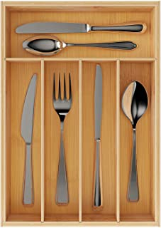 BAMEOS Bamboo Drawer Organizer Kitchen Silverware Organizer with 5 Compartments,Flatware Drawer Organizer Tray - Bamboo Hardware Organizer Cutlery and Utensil Tray, Perfect for the Kitchen, Bathroom,
