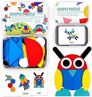 StillCool Tangram Puzzle, 36 Tangram Puzzle de Madera Montessori+ 60 PCS Diseño Tarjetas para Bloques de Patrones de Mader...
