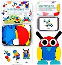 swonuk Rompecabezas de Madera, 36 Piezas Tangram Puzzle + 60 Tarjetas de diseño , Tangram Madera Shape Puzzle Set Montessori Forma Geométrica Bloques de Patrones