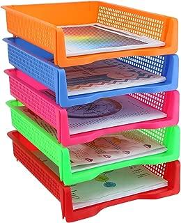 Zilpoo 5 Tier - Plastic Desk Letter Organizer Tray, Stackable Office Desktop Document Paper Storage, Front Load File Holder, Portrait, Assorted Colors