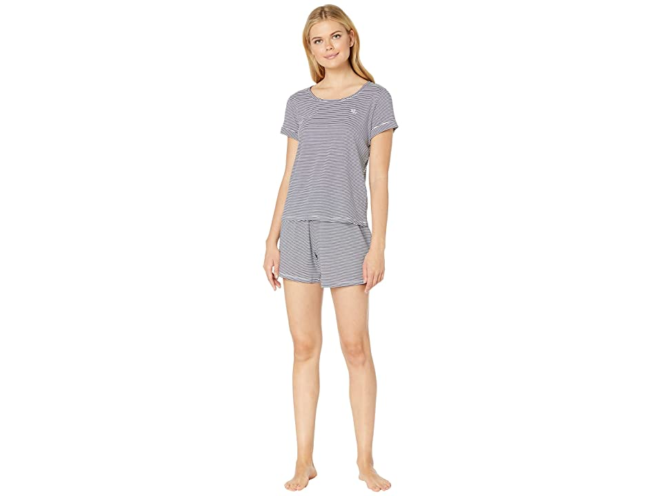 LAUREN Ralph Lauren Knit Boxer Pajama Set (Blue Stripe) Women