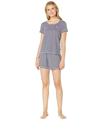LAUREN Ralph Lauren Knit Boxer Pajama Set (Blue Stripe) Women