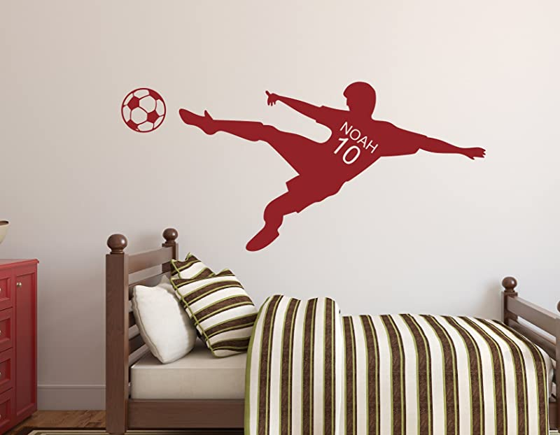 Personalized Name Soccer Wall Decal Nursery Wall Decals Soccer Player Wall Decal Vinyl 32Wx15H