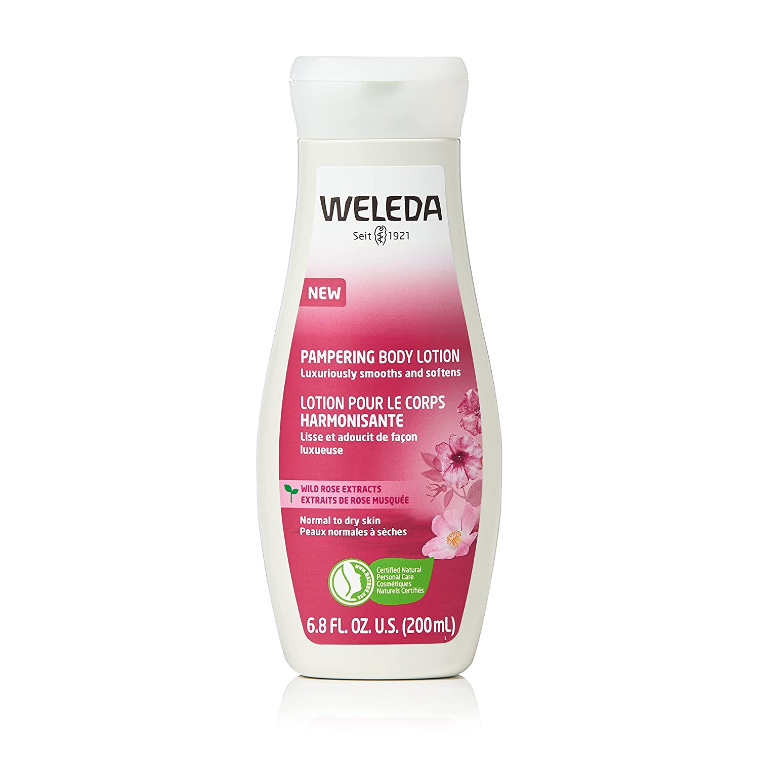 Weleda Pampering Wild Rose Body Lotion, 6.8 Fluid Ounces, Plant Rich Moisturizer with Wild Rose Oil, Jojoba Oil and Shea Butter