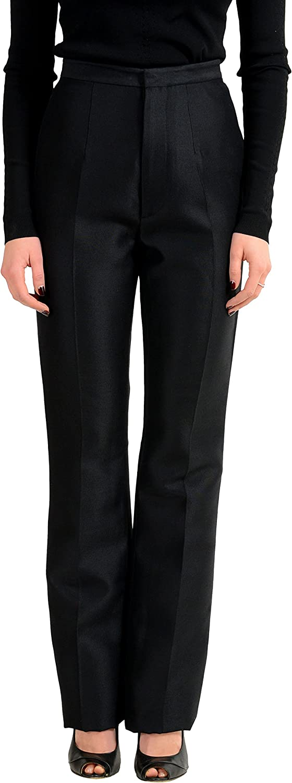 DSQUARED2 Wool Silk Black Straight Leg Women's Casual Pants US XS IT 38