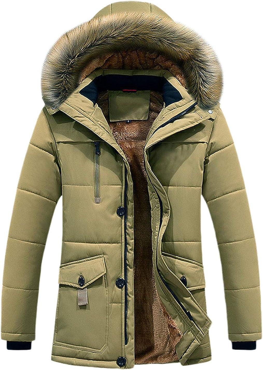 Omoone Men's Loose Faux Fur Hooded Fleece Lined Padded Snow Jacket Coat Parka
