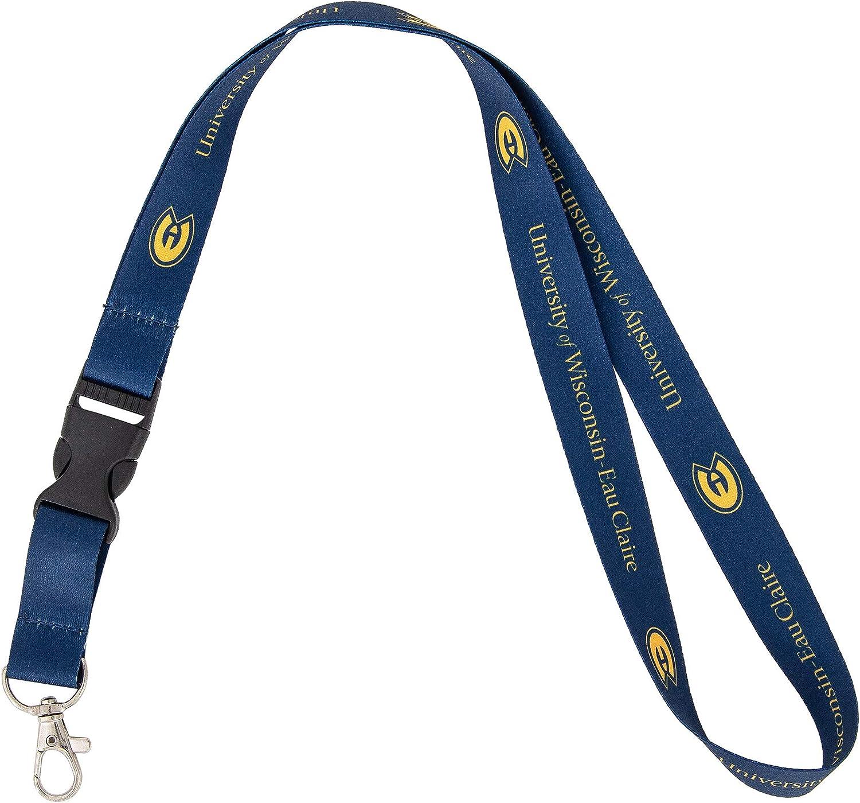 University of Wisconsin Eau Claire UWEC Blugolds Car Keys ID Badge Holder Lanyard Keychain Detachable Breakaway Snap Buckle (Blue)
