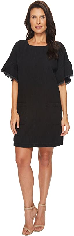 Ruffle Sleeve Drop Shoulder Two-Pocket Dress