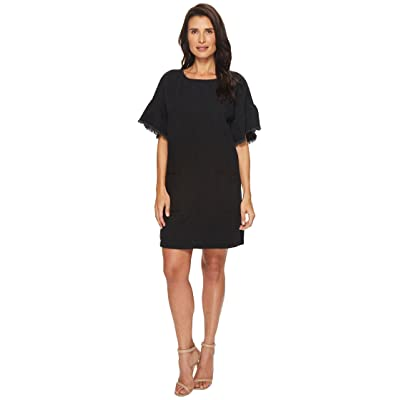 TWO by Vince Camuto Ruffle Sleeve Drop Shoulder Two-Pocket Dress (Rich Black) Women