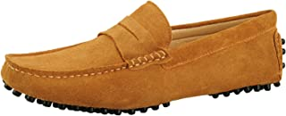 Santimon Mens Driving Penny Loafers Classic Suede Moccasins Slip On Casual Dress Boat Shoes
