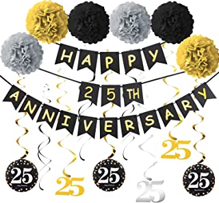25th Anniversary Party Decorations Kit - Gold Glitter Happy 25th Anniversary Banner, 9Pcs Sparkling 25 Hanging Swirl, 6Pcs...