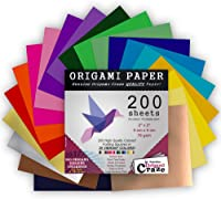 PAPERKIDDO Japanese Washi Origami Paper 100 Sheets 10 Different Pattern Double Side Printing Square Folding Paper Bronzing Premium Quality Arts and Crafts Projects for Kids Adults 6x6 Inch