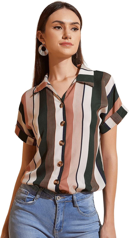 Milumia Women's Colorblock Striped Button Down Collar Shirt Cuffed Sleeve Blouse Top
