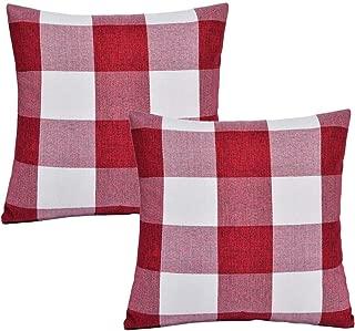 SEEKSEE Burlap Farmhouse Decor Buffalo Checkers Plaid Cotton Linen Decorative Throw Pillow Cover Rustic Cushion Cover Pillowcase for Sofa 18 x 18 Inch, Set of 2 (Red, 18