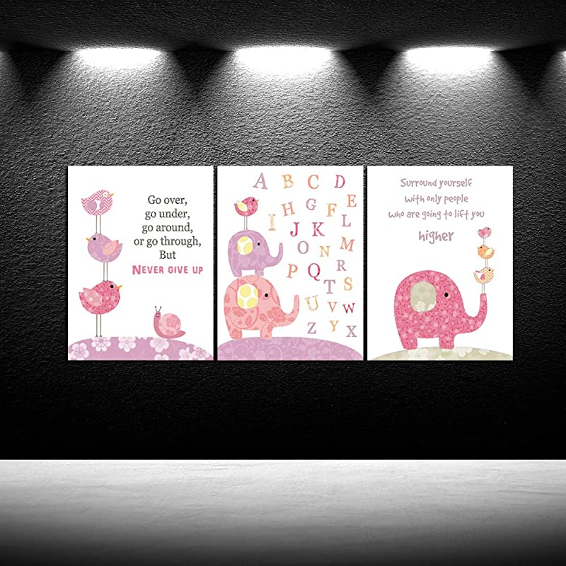 IKNOW FOTO Lovely Cartoon Animals Canvas Prints Pink Elephant And Birds Alphabet Letter For Baby Canvas Quotes Picture Frames Wall Art Nursery Canvas Print For Baby S Room Girl S Room