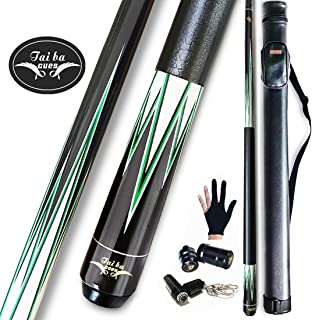 """Tai BA Cues 2-Piece Pool cue Stick + Hard Case, 13mm Tip, 58"""", Hardwood Canadian Maple Professional Billiard Pool Cue Stick 18,19,20,21,22 Oz Pool Stick (Selectable)-Blue, Black, Red, Gray, Green"""