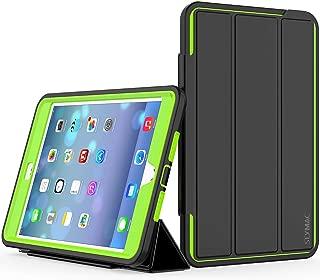 iPad Mini 4 Case, SEYMAC Three Layer Drop Protection Rugged Protective Heavy Duty iPad Mini Stand Case with Magnetic Smart Auto Wake/Sleep Cover for iPad Mini 4 Smart Case(Black/Green)