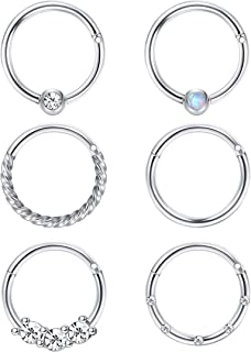 FIBO STEEL Cartilage Hoop Earrings for Men Women Stainless Steel CBR Hinged Clicker Nose Ring Helix Septum Couch Daith Lip...
