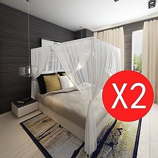Festnight Mosquitera para Cama Mosquitera de Viaje con 2 Puertas Neto Mongolia Blanca 200 x 180 x 150 cm