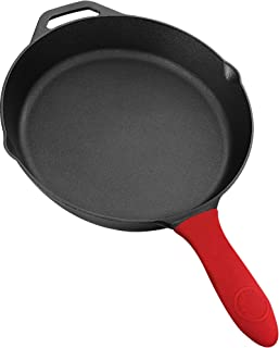 12.5 Inch Pre-Seasoned Cast Iron Skillet with Silicone Handle - Utopia Kitchen