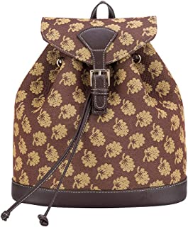 Signare Tapestry Stylish Rucksack Backpack with Flap Pull String in Jane Austen Design