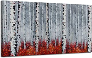 Canvas Wall Art White Grey Birch Trees Branches Landscape Painting Red Falls Leaves Picture Poster Prints, Modern One Panel 48