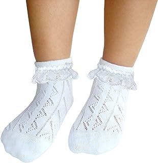 JHosiery Niñas calcetines con costura plana pointelle con encaje para pies sensibles (31-35, 2 pares Blanco)
