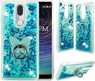 CoolPad Legacy Clear Case, ZASE Liquid Glitter Sparkle Bling Phone Case for CoolPad Legacy 6.36 inch (Metro,Boost) Cute Protective Cover Waterfall Floating Quicksand w/Phone Ring Holder (Teal Blue)