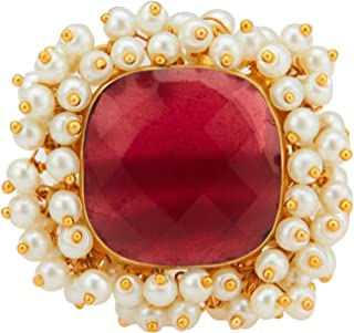Aheli Meenakari Jewelry Crystal Brass Alloy Adjustable Ring Indian Traditional Jewelry for Women Girls (Red)