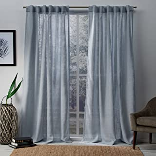 Exclusive Home Curtains Bella Window Curtain Panel Pair with Hidden Tab Top, 54x96, Melrose Blue, 2 Count