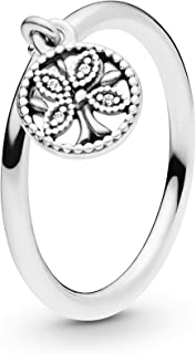 Pandora Jewelry - Dangling Family Tree Ring for Women in Sterling Silver with Clear Cubic Zirconia