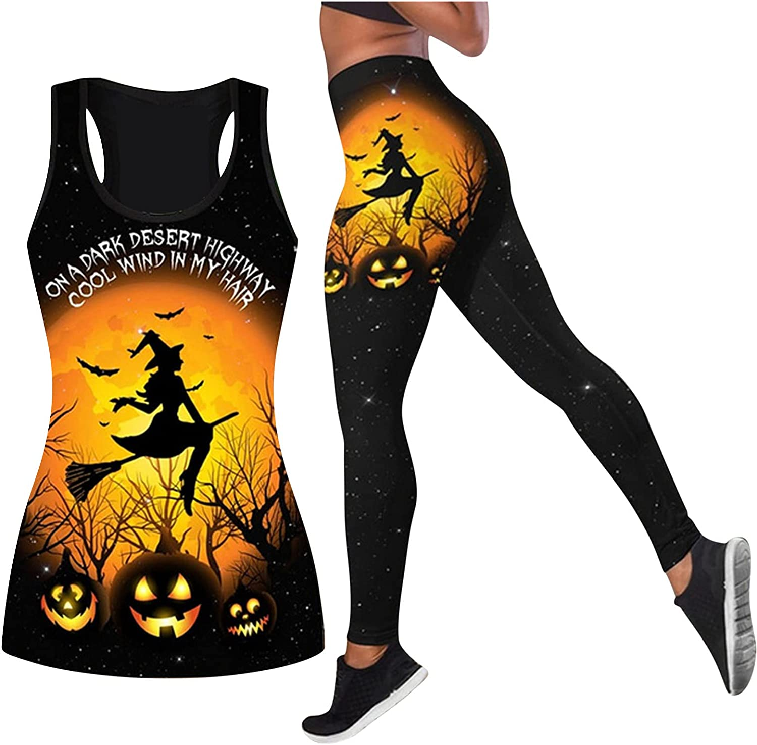 Halloween Womens 2 Pcs Set On A Dark Desert Highway Witch Tank Top You Just Flipped My Witch Switch T Shirt + Pants