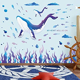 RW-9105 Blue Whale Wall Decals Giant Whale Ocean Wall Stickers Ocean Animal Fish Decor DIY Removable Under The Sea Animals...