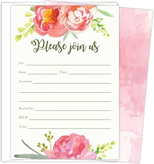 Pink Vintage Floral Set of 25 Fill-in Invitations and Envelopes for Soirees, Bridal Showers, Baby Showers, Birthdays, Graduations, Dinner Parties, Rehearsal Dinners and Bachelorette Parties.