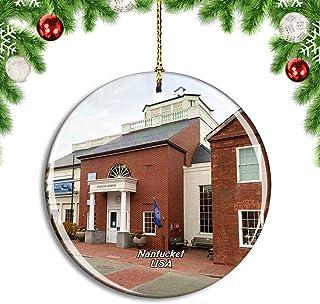 Weekino USA America Nantucket Whaling Museum Christmas Xmas Tree Ornament Decoration Hanging Pendant Decor City Travel Sou...