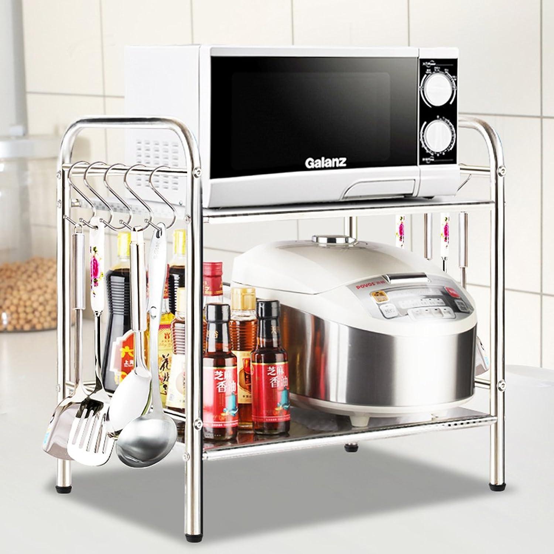 Kitchen Shelf Floor Stainless Steel Seasoning Storage Rack Microwave Oven Seasoning Shelf Storage Rack -by TIANTA (color   2 Floors, Size   60CM)