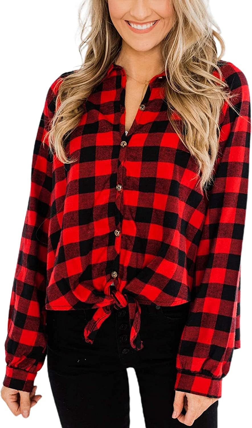 Remidoo Women's Long Sleeve Tie Knot Collared Button Down Plaid Flannel Shirt