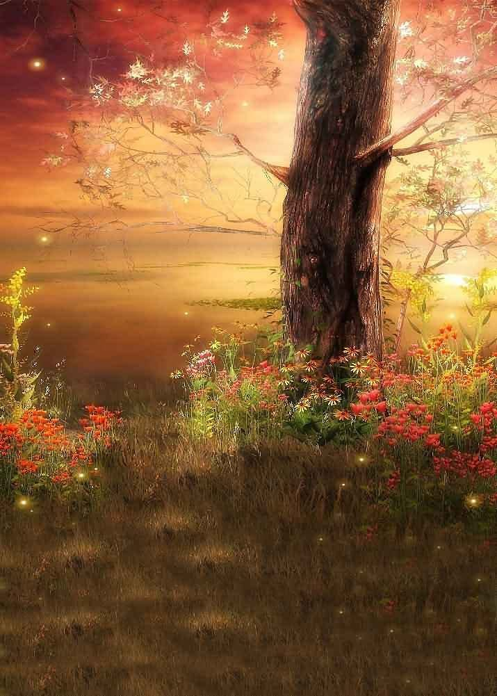 GladsBuy Autumn Trees 10 x 20 Computer Printed Photography Backdrop Nature Theme Background LMG-054