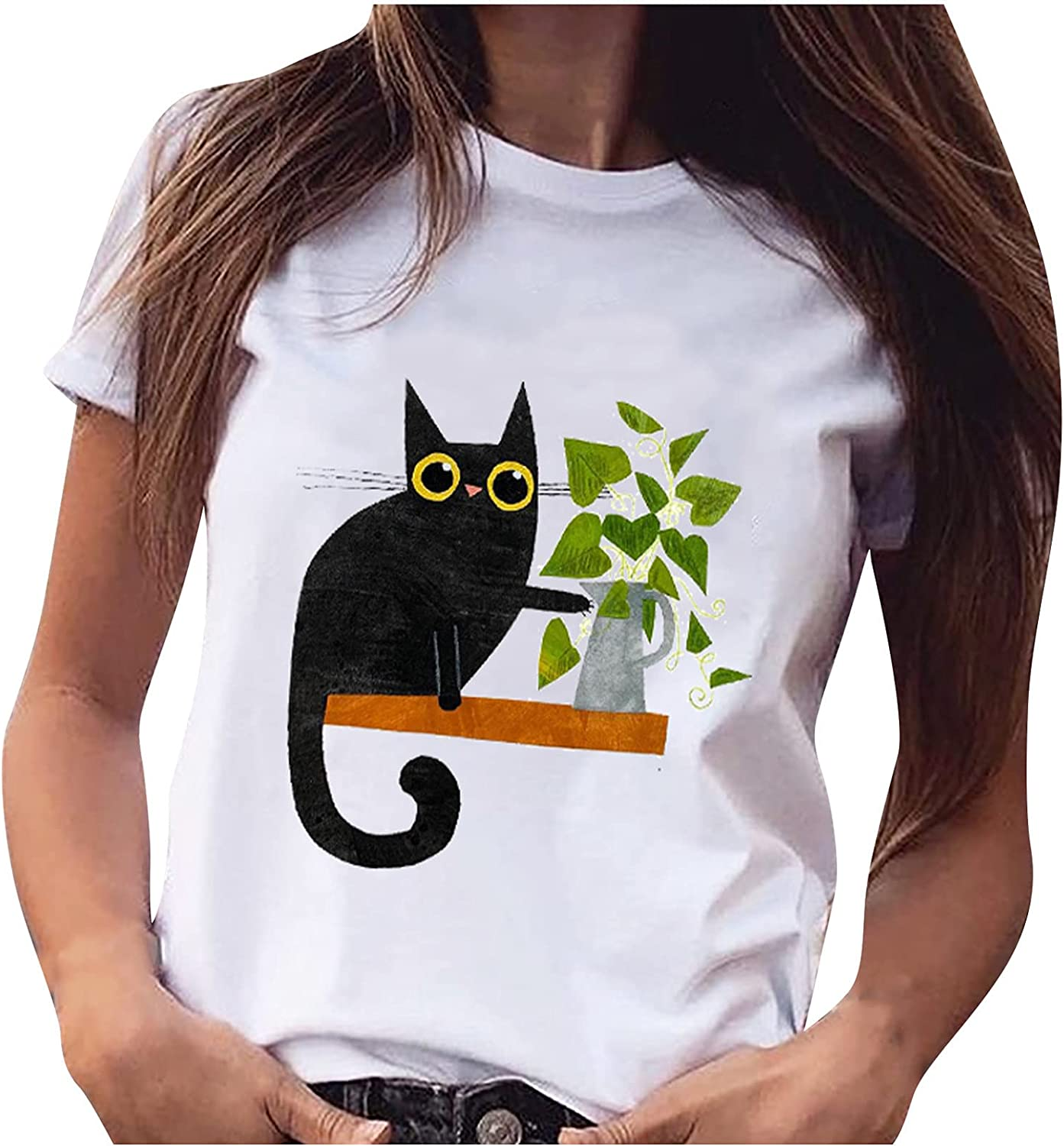 Women Plus Size Short Sleeve Crewneck Max 51% OFF Summer T-Shirt Manufacturer direct delivery Funny Print