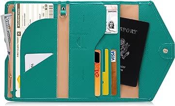 Zoppen Multi-Purpose RFID Blocking Travel Passport Wallet (Ver.4) Tri-fold Document Organizer Holder, 17 Emerald Green (Green) - TG001