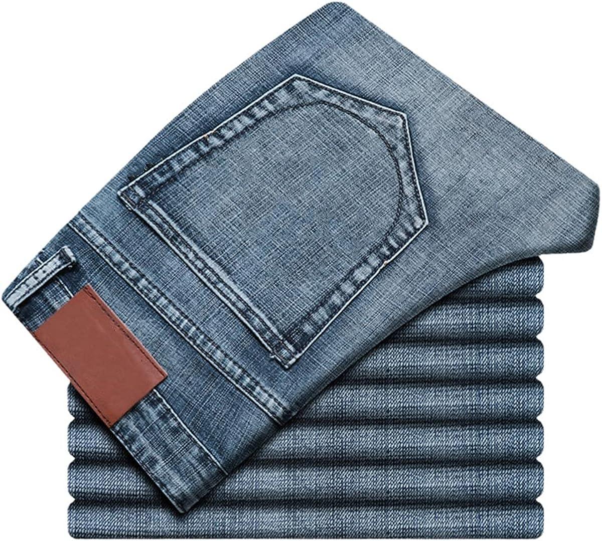 Fall Men's 5 Classic Jeans Stretch Slim Thin Denim Trousers Business Casual Classic