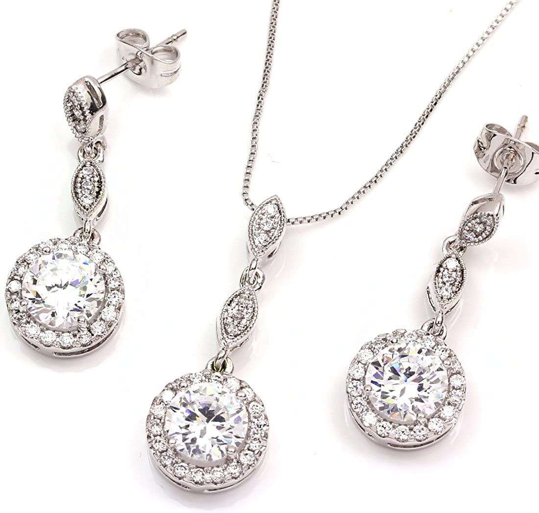 FC JORY White & Rose Gold Plated Diamante Crystal CZ Round Necklace Earring Studs Jewelry Set
