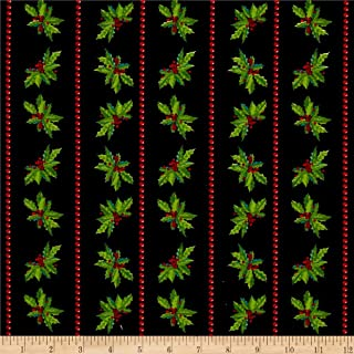 Santee Print Works Christmas Holly Stripes Black Fabric by the Yard