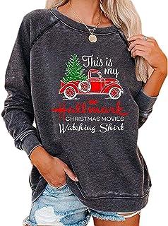 Christmas Movies Watching Shirt Xmas Truck Tree This is My Xmas Watching Shirt Hallmark Long Sleeve Blouse Pullover Tops
