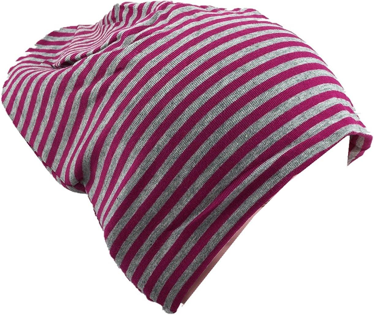 Baby Kinder Jersey Slouch Beanie Long M/ütze mit Streifen Unisex Baumwolle Trend