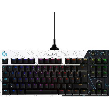 Logitech G PRO K/DA Teclado Gaming Mecánico sin teclado numérico, GX-Táctil marrón, RGB LIGHTSYNC, Cable Micro USB Desmontable, Equipo oficial League ...