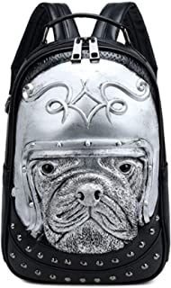 Relief Animal Backpack Men And Women Waterproof Pu Backpack Travel Luggage Luggage 1 Piece,Silver