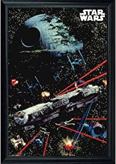 Star Wars Death Star & Millennium Falcon Wall Art Decor Framed Print | 24x36 Premium (Canvas/Painting Like) Textured Poster | Classic Darth Vader Space War Movie | Gifts for Guys & Girls Bedroom Walls