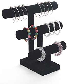 Wuligirl 3 Tier T-Bar Jewelry Display Stand Necklace Bangle Bracelet Organizer Watch Display Velvet, Black/Ice Grey (3T Bar)