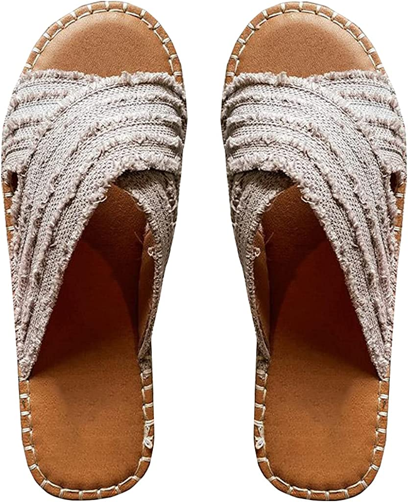 CLEO ESPADRILLE SLIDES- Flat-bottomed straw cross fisherman shoes bohemian outer wear sandals and slippers